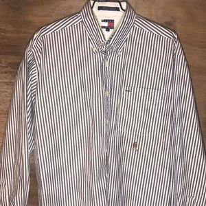 Tommy Hilfiger Grey Striped Button Up Mens L